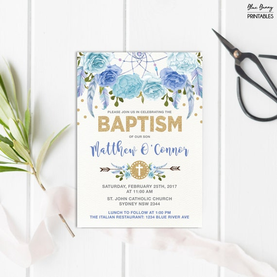 Boy baptism invitation blue and gold bohemian floral christening il570xn filmwisefo