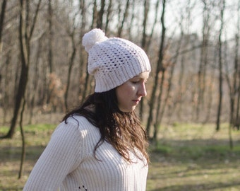 "Lace crochet Hat-mod. ""Snowdrops"" off white"