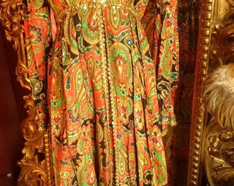 RESERVED FOR HEATHER Amazing Vintage 1960's Paisley Palazzo Jumpsuit!