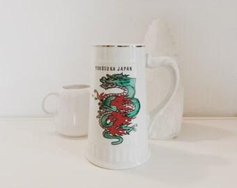 Vintage Green Dragon Beer Stein/ Yokosuka Japan/ Porcelain Beer Mug