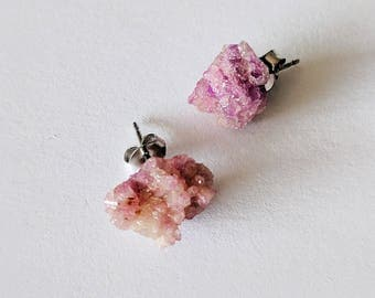 Raw Vesuvianite Stud Earrings Stainless Steel Nickel-Free Shamanically Activated Cleansed