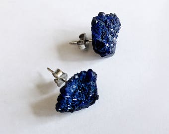 Raw Azurite Gemstone Stud Earrings Stainless Steel Nickel-Free Shamanically Activated and Cleansed
