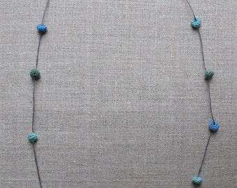 Lagoon-Blue Necklace With Crocheted Beads