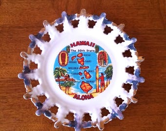 Hawaii Souvenir Plate Ceramic Wall Art Kitschy