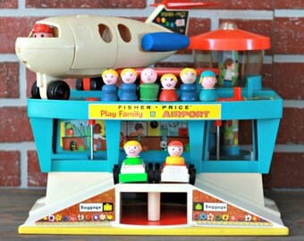 Fisher-Price airport 1972, 70's Fisher-Price toys, Fisher-Price figurine, Fisher-Price plane, Fisher-Price #996, kids gift, Christmas gift