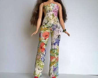 Curvy Barbie jumpsuit with colorful floral patterns