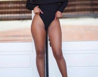 COURAGEOUS Black Peplum Cotton Bodysuit, Swimsuit, Thick Material XS S M L XL