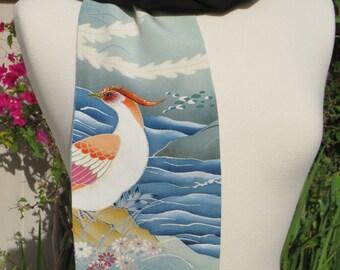 Black Silk Scarf from re-purposed Japanese Kimono