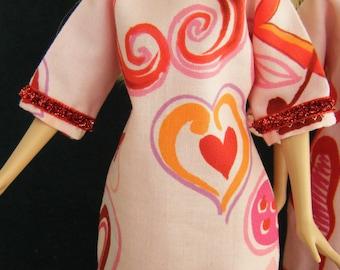 Valentine Barbie Sheath, Dress, Tunic: barbie doll clothes, barbie clothes, fashion doll dress, fashion doll sheath, barbie princess