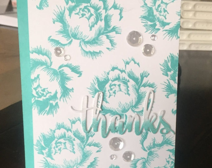 Handmade Card, Hand Stamped Card, Stamped Thanks Card, Handmade Thanks  Card, Stamped Floral  Card,  Handmade Floral Card, Layered Card