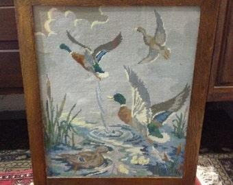 Unusual Vintage Oak Tapestry Firescreen/Table