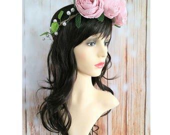 Pink Peony Flower Crown