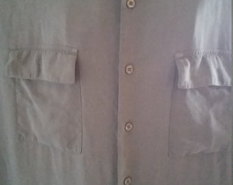 Cezani 100 percent Silk button down shirt size L