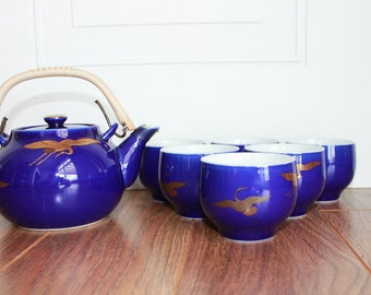 Vintage Japanese Tea Set, Whooping Crane Japanese Tea Set, Set of 6 Tea Cups, Vintage Tea Set, Royal Blue Tea Set