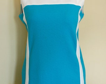 60s Mod Plus Size Mini Dress/Tunic Sleeveless A-Line Turquoise/White Retro Crimplene/Double Knit Polyester Color-Blocked Bust 42 Size L/XL