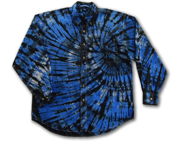 Tie Dye Medium Button Down Dress Shirt Blue Black Gray