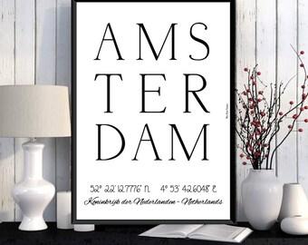 Amsterdam Poster, Amsterdam print, Wall Art decor, Amsterdam city print, City poster, Amsterdam printable, Typography print