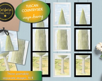 Printable Art Print - Tuscan countryside - Graphics - Tuscan landscape - instant download -