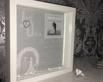 Wedding gift frame with lace lettering