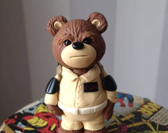 Ghostbuster Comic Con Bear - Polymer clay bear figure dressed in style of Ghostbuster