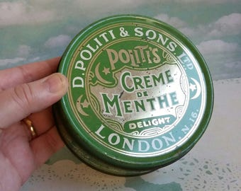 Vintage 1950s Politis Creme De Menthe London No. 16 Tin