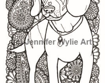 beagle adult coloring page dog colouring page printable adult coloring hand drawn