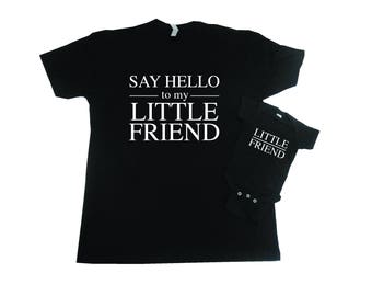 Say Hello To My Little Friend T-Shirt Set, Fathers Day Gift, Father Son Matching Shirts, Father Daughter Matching Shirts, First Fathers Day