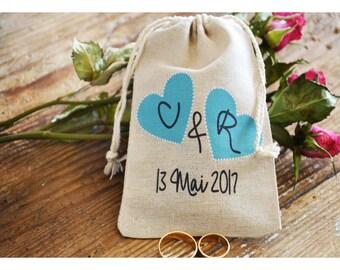 Personalized ring bearer bag, Mr & Mrs ring bag ,personalized ring holder, ring bearer pillow alternative, ring bag ,drawstring bag (TB15)