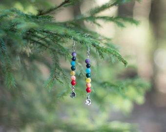 Yoga earrings, Chakra earrings, Rainbow gemstone earrings, Yoga jewelry, Gemstone Chakra Jewelry, Yoga inspired earrings, Beaded earrings