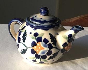 Tiny Polish Pottery Teapot, Miniature Pottery Teapot with Blue and Orange Flowers, Toy Teapot, Small decorative Teapot