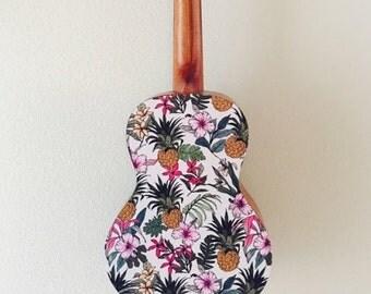 Ukulele sticker decal of vintage flower and pineapple Hawaiian design. Uke On! Sticker for ukulele
