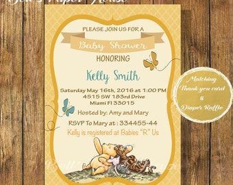 Digital file or Printed-Classic Winnie The Pooh Invitation-Baby Shower Disney Classic Pooh-Tigger-Customize-Gender Neutral-Free Shipping