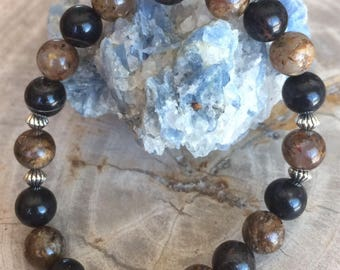 OBSIDIAN and Bronzite Stretch Bracelet! Handmade Premium Beads Healing Bracelet! Natural Healing Jewelry Meditation