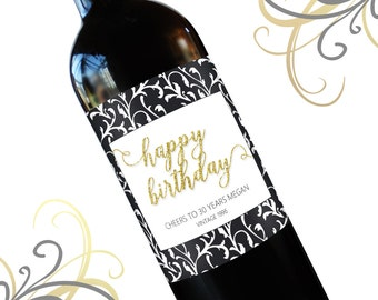 Birthday Wine Label, Custom Wine Labels, Personalized Wine Label 21st Birthday Gift for Her, Dirty Thirty, Wine Lover Gift 30th 40th 50th
