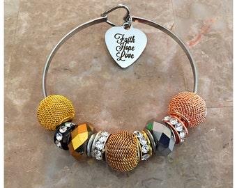 Faith Hope Love Charm Bracelet, Charm Bangle, Beaded Bracelet, Beaded Charm Bangle, Euro Bead Bracelet, Stainless Steel, Faith Bracelet,