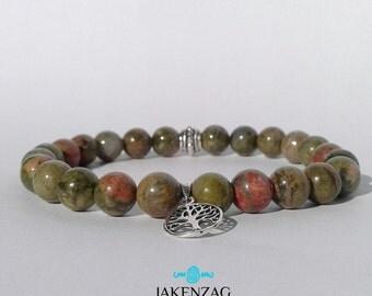8mm Unakite Bracelet, Silver Bracelet, Gemstone Bracelet, Unakite Jewelry, Bead Bracelet Men, Mens Jewelry, Gifts for Him