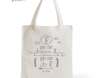Tote Bag Dream It, Disney, gift for her, gift for him, typography, statement, quote, Cinema