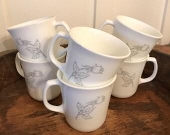 Vintage Corning Ware USA Pyrex White Glass Coffee Mugs with Stipple Gray Rose Motif Set of 6