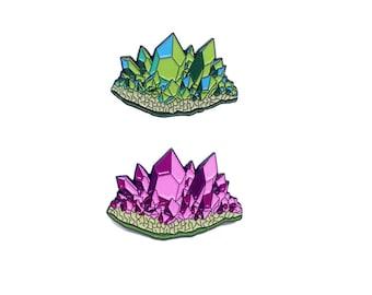 Amethyst and Aquamarine Pin Pack Crystal Lapel Pins