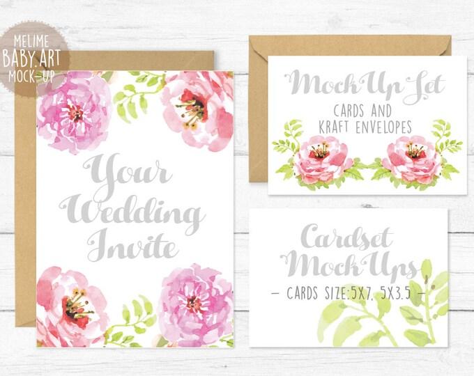 Wedding Cards Set Mockup, Wedding Invitation Mockups, 5x7 and 5x3.5 Invites Mockup, Wedding Mockup, Cards and Envelope Mockup (WeddingSet)