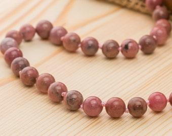 Rhodonite necklace women's jewelry women's gift for woman style necklace rhodonite jewelry pink bead necklace wife necklace for wife jewelry