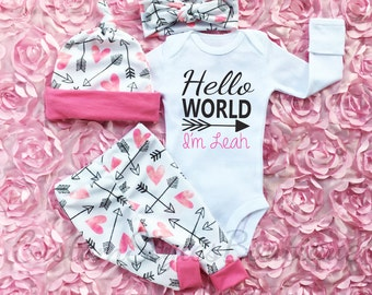 Baby Girl Coming Home Outfit, Hello World, Custom Name, Hearts And Arrow Pattern Leggings, Hat and Headband, Baby Girl Going Home Outfit