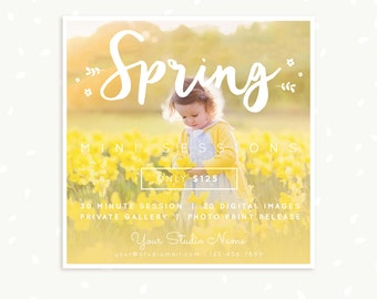 Spring Mini Session Template, Square, Hand lettering Spring Marketing Board, Photoshop Template, Easter / Spring Photography Marketing Set