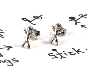 Stick man earrings, sterling silver stick man studs, unisex earrings, everyday mens earrings, tiny stck man jewelry, simple stick man studs