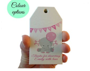 10 X Personalised Baby Shower Tags, Elephant Favour Tags, Thank You Favour Tags, Ready To Pop Favour Tags, Gift Tags, Party Bag Tags