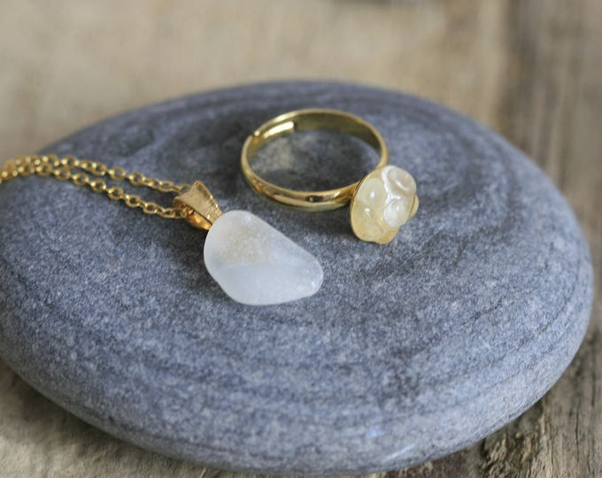 Set of Irish Seaglass Brass Necklace & Seaglass Ring | Seaglass Jewellery  | Jewelry | White Seaglass | Beachglass
