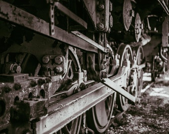 Black and White Photo Print of Old Train Wheels - Black and White photography - Interior wall art photo print - Great photo print gift