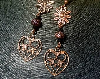 Antique Copper Heart Earrings