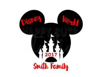 Personalized Mickey Castle Matching Family Mom Dad Son Daughter Disney World Vacation Cheer Team Disney Iron On Vinyl 4 Shirt 250