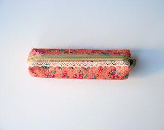 Peach Floral Pencil Case